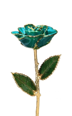 24KT GOLD DIPPED TEAL ROSE-CGR44-B product image